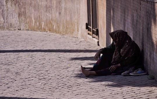 Old, Woman, Elderly, Cobblestone, Street, Poor, Beggar