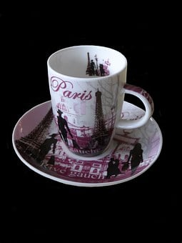 Coffee Cup, Cup, Saucer, Ceramic, Pink, Violet, Black