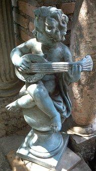 Cherub, Playing, Lute, Statue, Cupid, Angel, Play