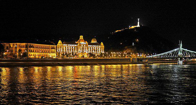 Budapest At Night, Danube, West Bank, Gellert Hotel