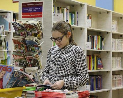 Girl, Library, Books, Magazines, Glasses, Directory