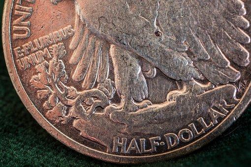 Silver Coin, Silver Dollar, Usa, Half Dollar, Dollar