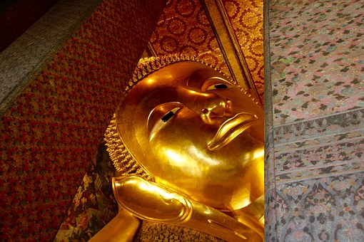 Lying, Buddha, Thailand, Face, Asia, Gold, Buddhism