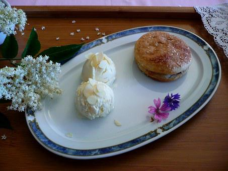 Ice Cream, Dessert, Food, Cake, Flower, Elder, Almond