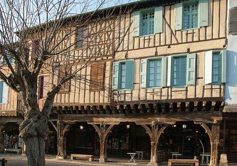 France, Mirepoix, Medieval Village, Arcades, Facades