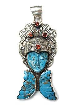 Turquoise, Stone, Pendant, Goddess, Asian, Garnet