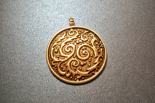 Pendant, Gold, Medallion, Jewelry, Metal, Focal