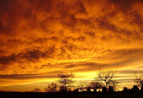 Amber Sky, Gold Sky, Gold, Sky, Red, Fiery, Sunset