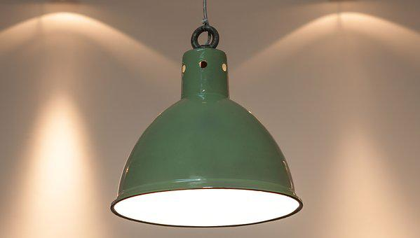 Original Factory Pendant Light, Enamel, Green Enamel