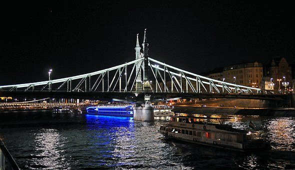 Budapest At Night, Liberty Bridge, Danube, Illumination