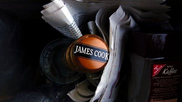 Garbage Can, Bottle, Newspaper, Garbage, James Cook