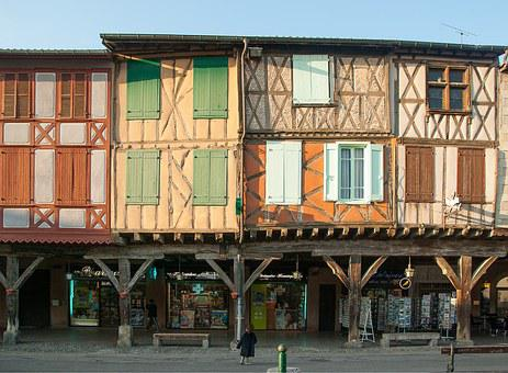 France, Mirepoix, Timbered Houses, Arcades, Shutters