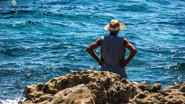 Old Man, Looking, Sea, Senior, Elderly, Leisure