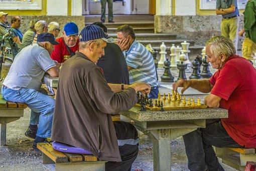 Senior, Elderly, Game, Chess, Park, Hangout, Company