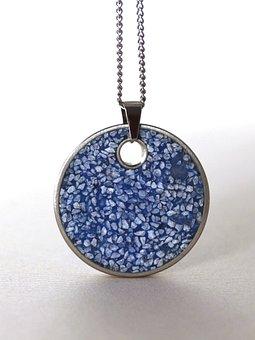 Pendant, Necklace, Round Blue, Steel, Concrete, Jewelry