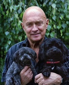 Elder Man, Dogs, Puppy, Man, Senior, Old, Elderly