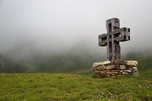 Cross, Grass, Fog, Glockner Road, Religion, Atmosphere
