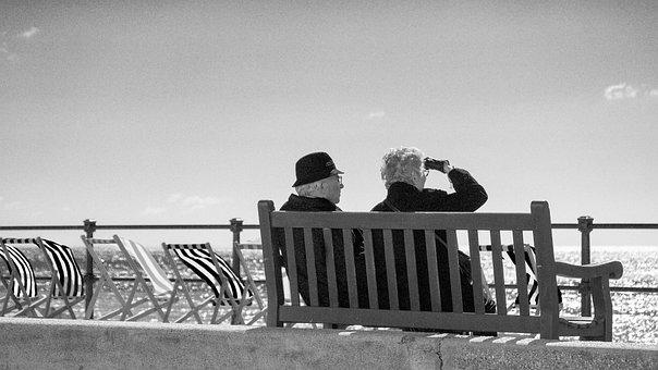Bench, Couple, Senior, View, Beach, Sea, Coast, People