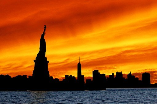 Statue Of Liberty, Silhouette, Skyline, Statue, Liberty