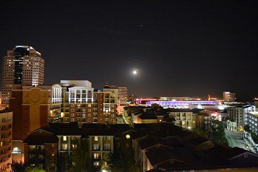 Skyline, Moon, City, Night, Cityscape, Architecture