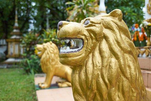 Temple, Laos, Vientiane, Buddhist, Lion, Deity, Statue