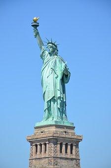 New York, Statue Of Liberty, In, Manhattan