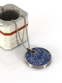 Blue, Concrete, Steel, Necklace, Pendant, Fashion