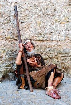 Beggar, Poor, Heartbreaking, Miserable, Stick, Rags