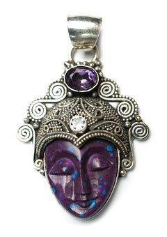 Stone, Pendant, Goddess, Asian, Amethyst, Jasper, Agate