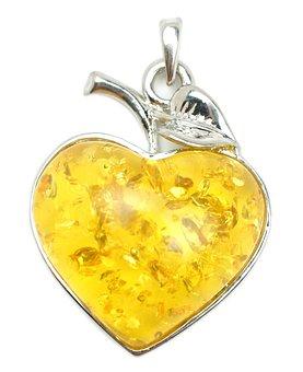 Amber, Heart, Pendant, Jewelry, Talisman, Amulet