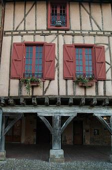 France, Mirepoix, Timbered Houses, Arcades