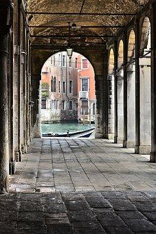 Venice, Gang, Arcades, Water, Historically, Facade