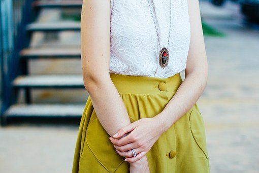 Fashion, Woman, Female, Girl, Yellow, Skirt, White