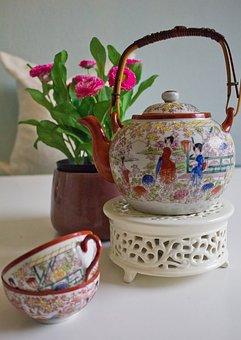 China, Service, Cup, Pot, Tee, Decor, Porcelain, Teacup