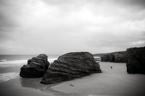 Beach, Sea, Landscape, Clouds, Beach Of The Cathedrals