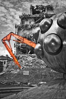 Work, Demolition, Black And White Part, Crane