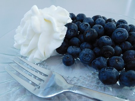 Blueberries And Whipped Cream, Fruits, Blueberry