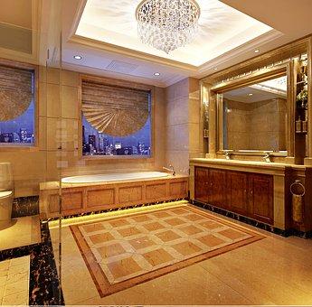 Bathroom, Marble, Household, Neo-classical, Warm Light