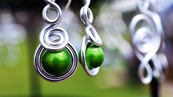 Earrings, Silver, Jewelry, Fashion, Metal, Shiny, Green