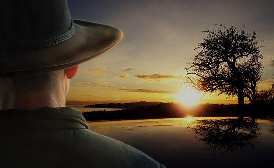 Sunrise, Landscape, Bushman, Cowboy, Akubra, Sun, Tree