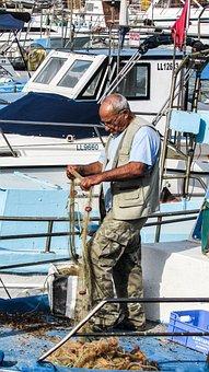 Fisherman, Nets, Fixing Nets, Fishing, Traditional
