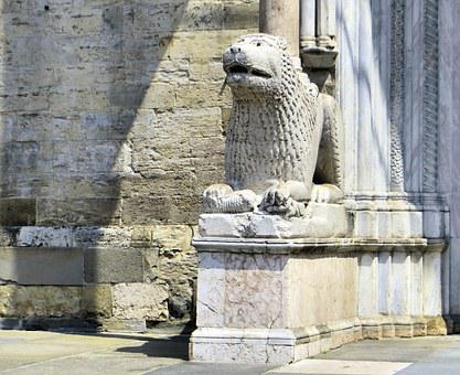 Italy, Parma, Cathedral, Lion, Statue, Renaissance