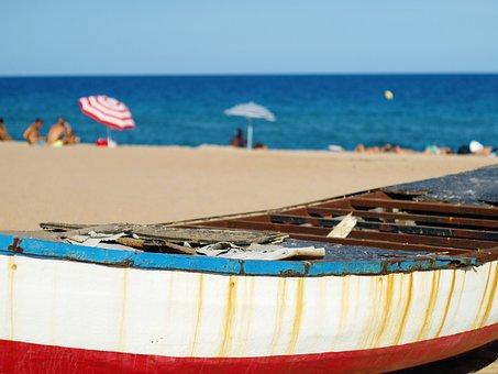 Ship, Boat, Sea, Beach, Blue, Water, Summer