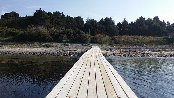 Wooden Bridge, Sandy Beach, Vollerup Beach
