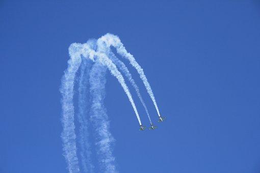 Airshow, Air Display, Aerobatic Maneuvres, Blue Sky