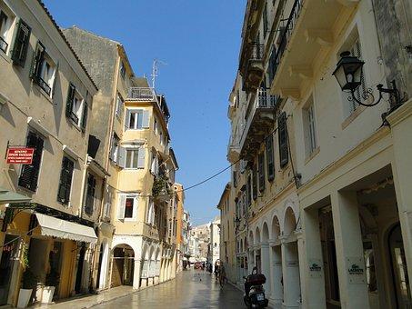 Corfu, Historic Center, Facade, Building, Architecture