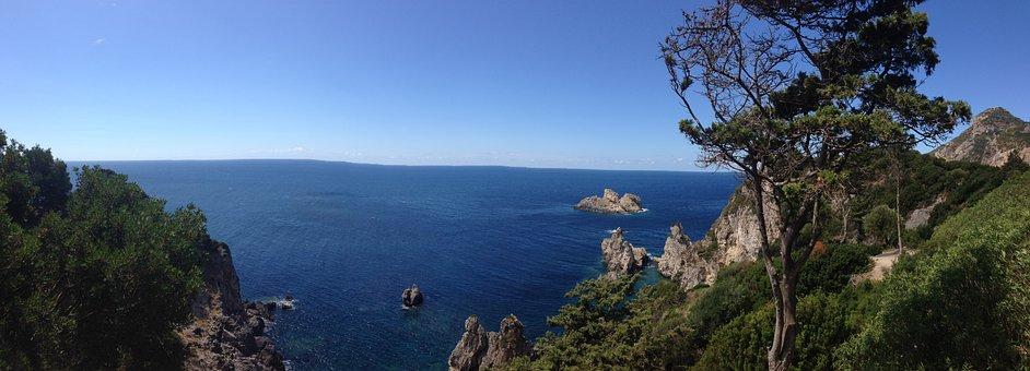 Greece, Corfu, Sea, Vacations, Beach, Sky, Sand, Bay