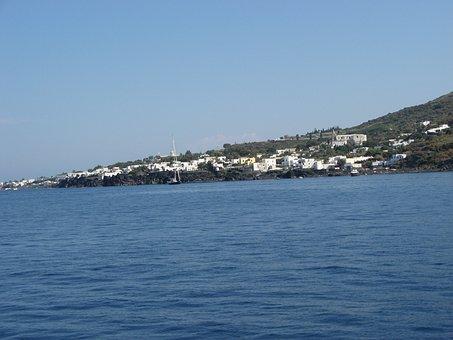 Calabria, Stromboli, Island, Volcano, White Houses, Sea