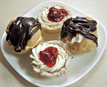 Chocolate Cream Puffs, Cream Cheese Tarts, Dessert