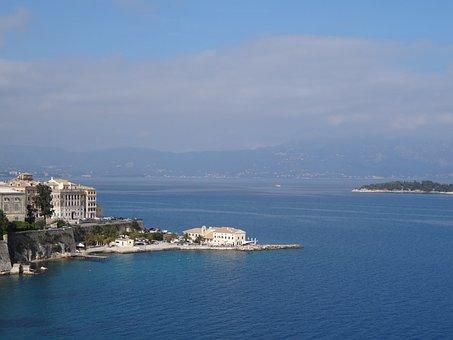 Corfu, Corfu Town, Kerkyra, Building, Sea, Sun, Clouds